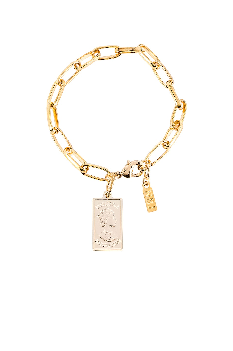 Natalie B Jewelry Gold Bar Link Bracelet in Gold