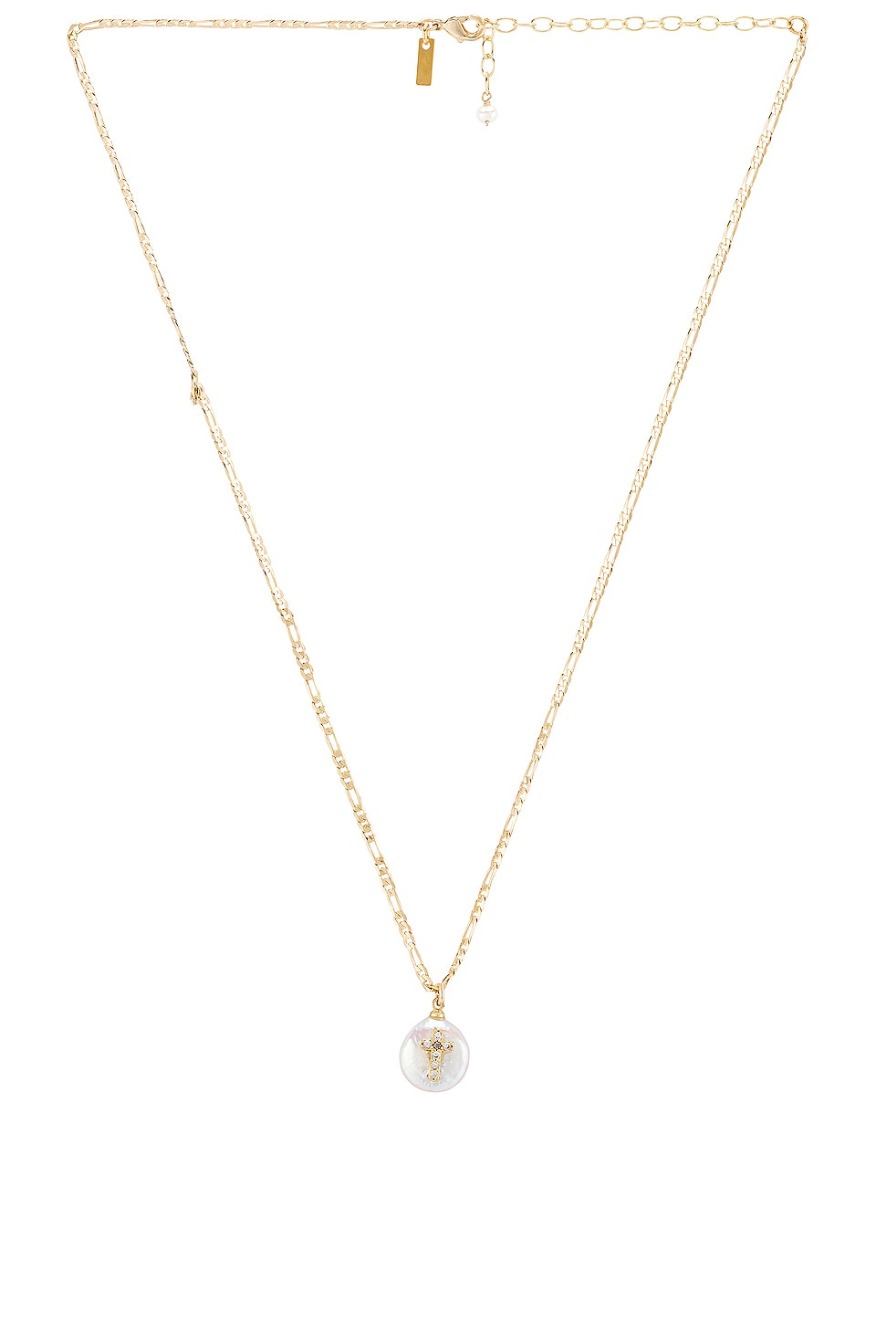 Natalie B Jewelry Pearl of Love Cross Necklace in Gold