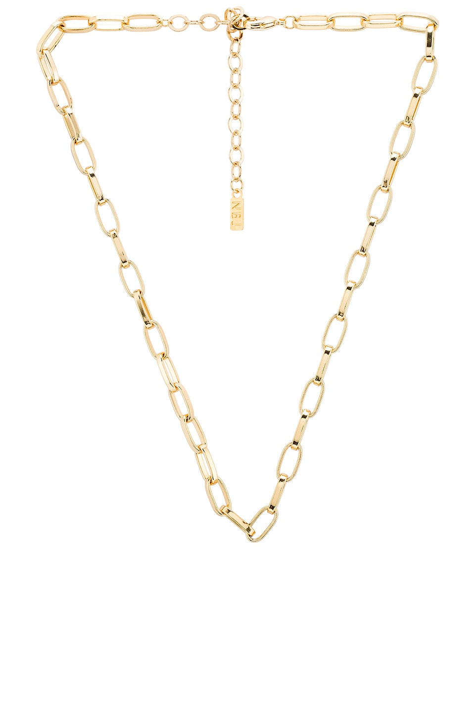 Natalie B Jewelry Shelby Large Rectangular Link Necklace in Gold