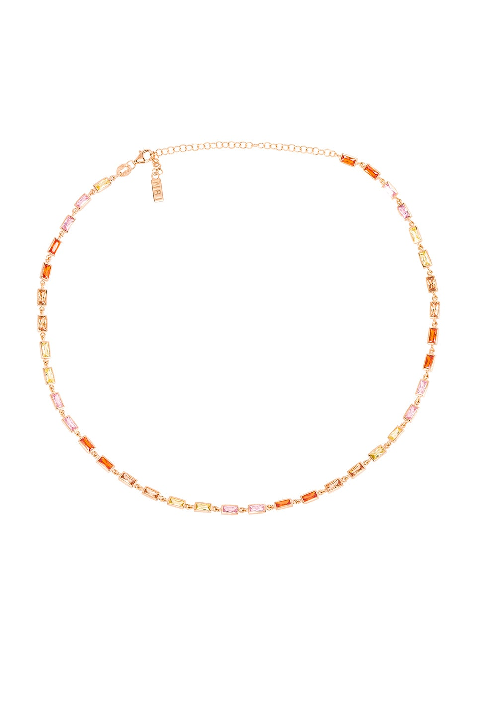 Natalie B Jewelry CZ Baguette Tennis Necklace in Gold