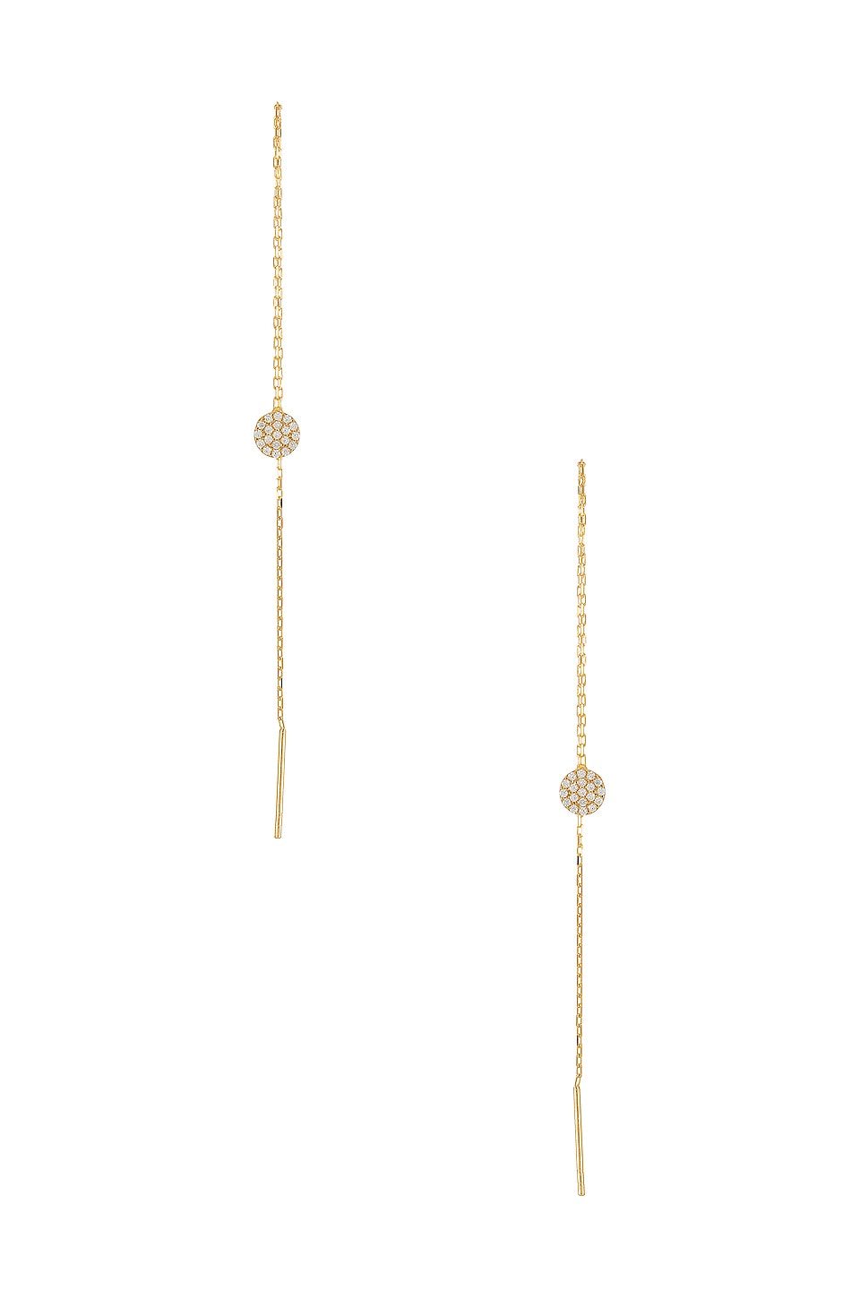 Natalie B Jewelry Iris Pave Disc Threader in Gold