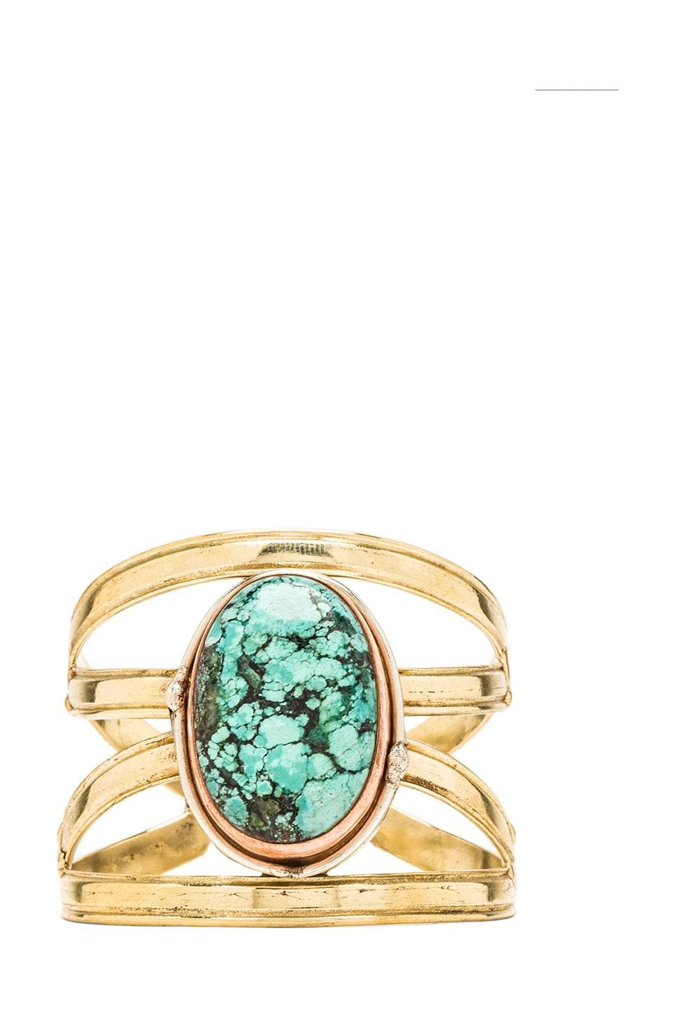 Natalie B Jewelry X Cuff in Turquoise