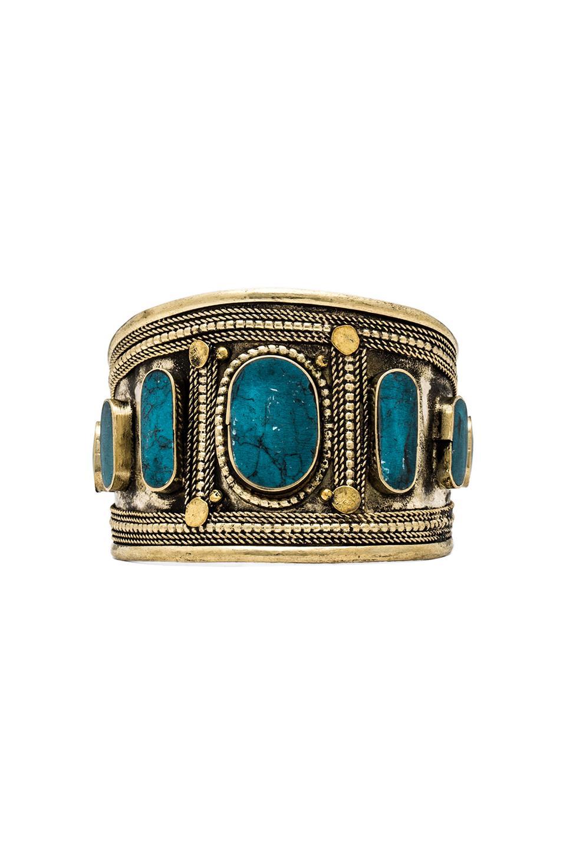 Natalie B Jewelry Ashira Cuff in Turquoise/Brass