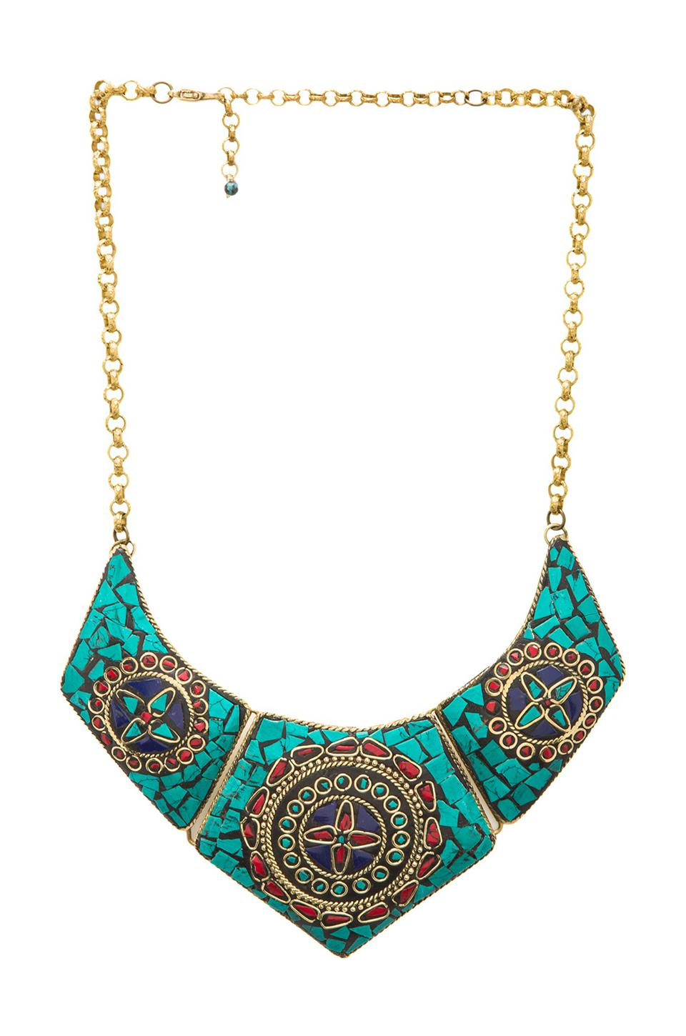 Natalie B Jewelry Natalie B Chevry Necklace in Turquoise Brass