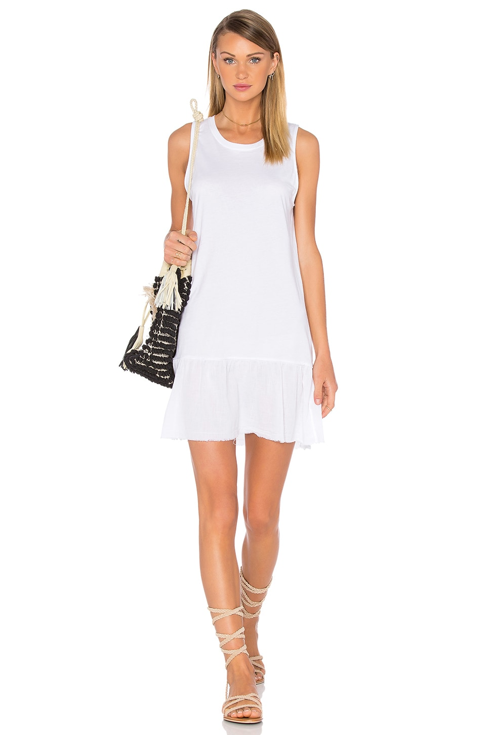 Nation LTD Ariel Ruffle Tank Dress in White