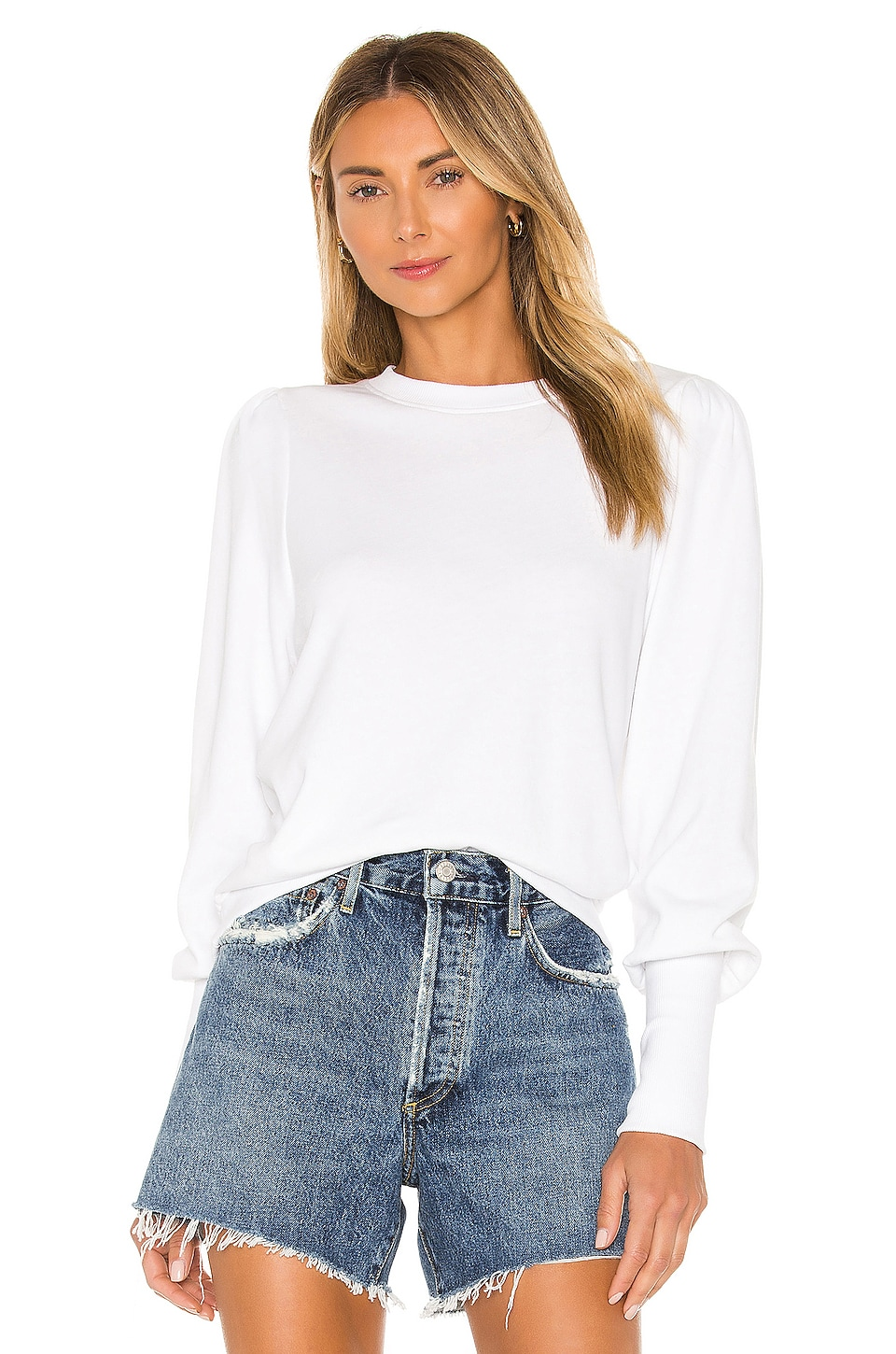 Nation LTD Bethany Puff Sleeve Sweatshirt in White