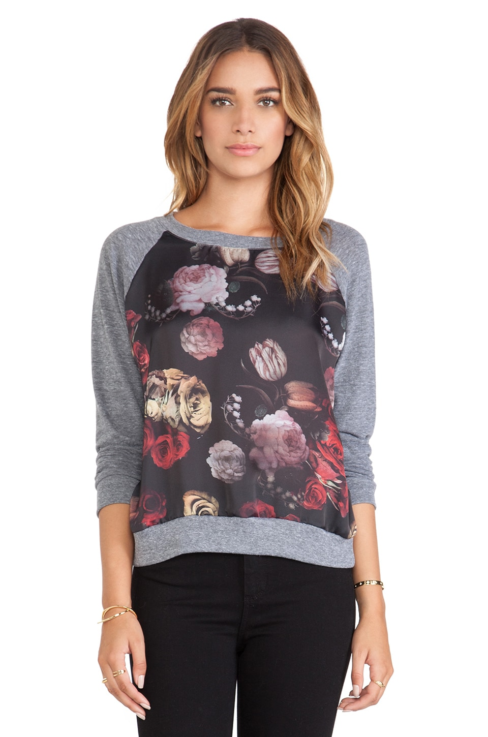 Nation LTD Raglan Sweatshirt in Romantic Floral & Heather Grey