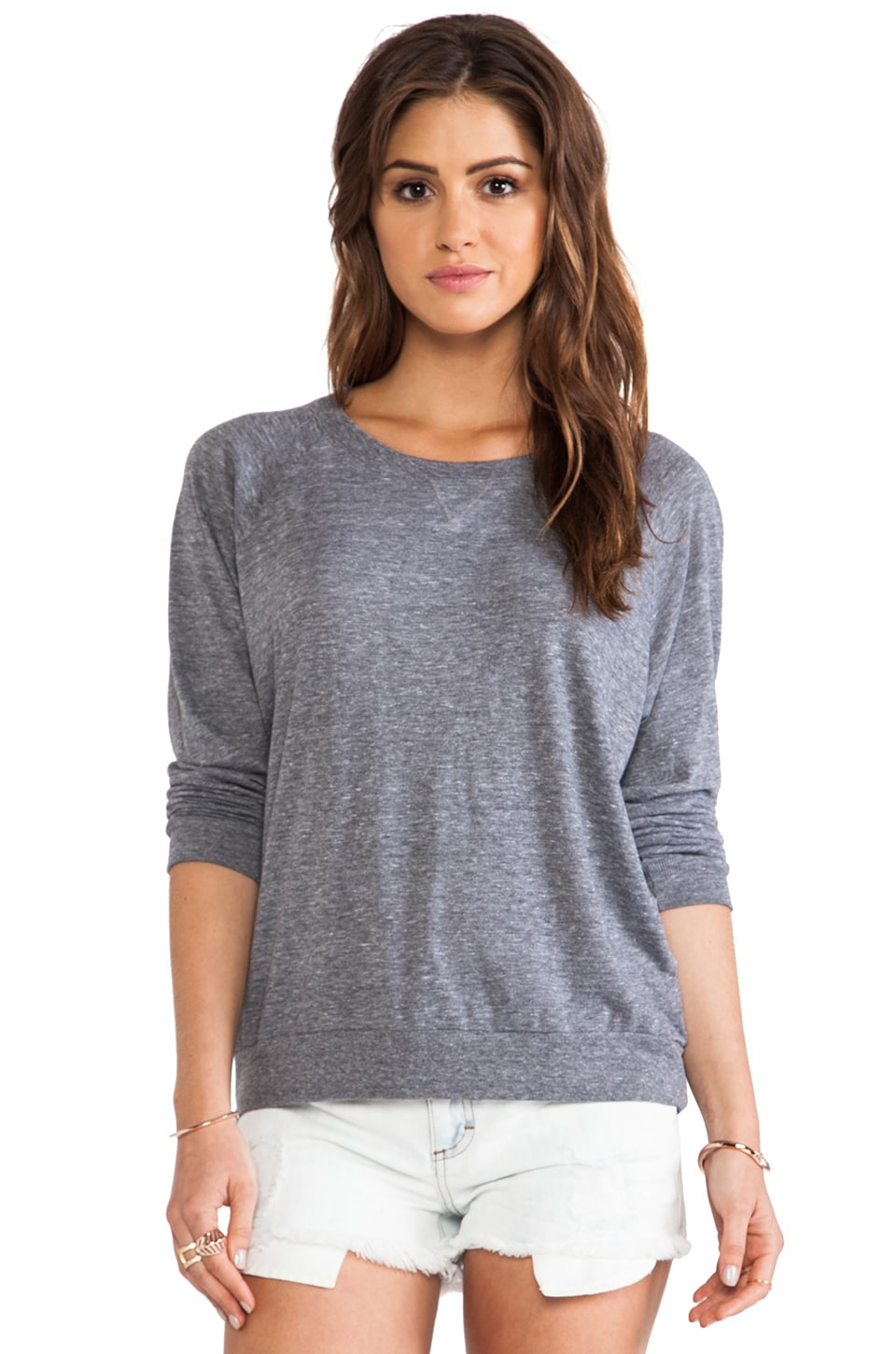 Nation LTD Heather Raglan Sweatshirt in Heather Gray