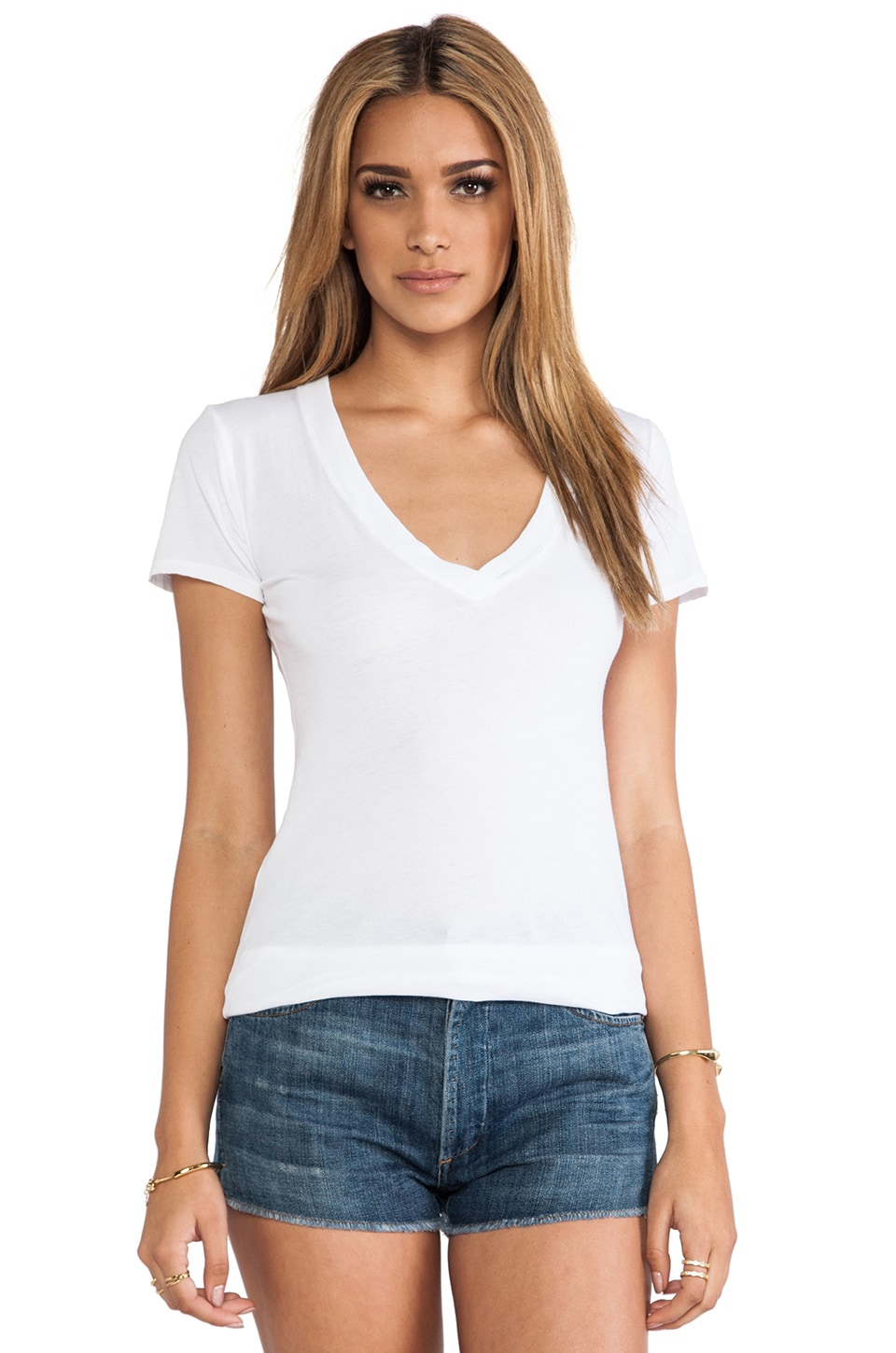 Nation LTD Classic V Neck Tee in White