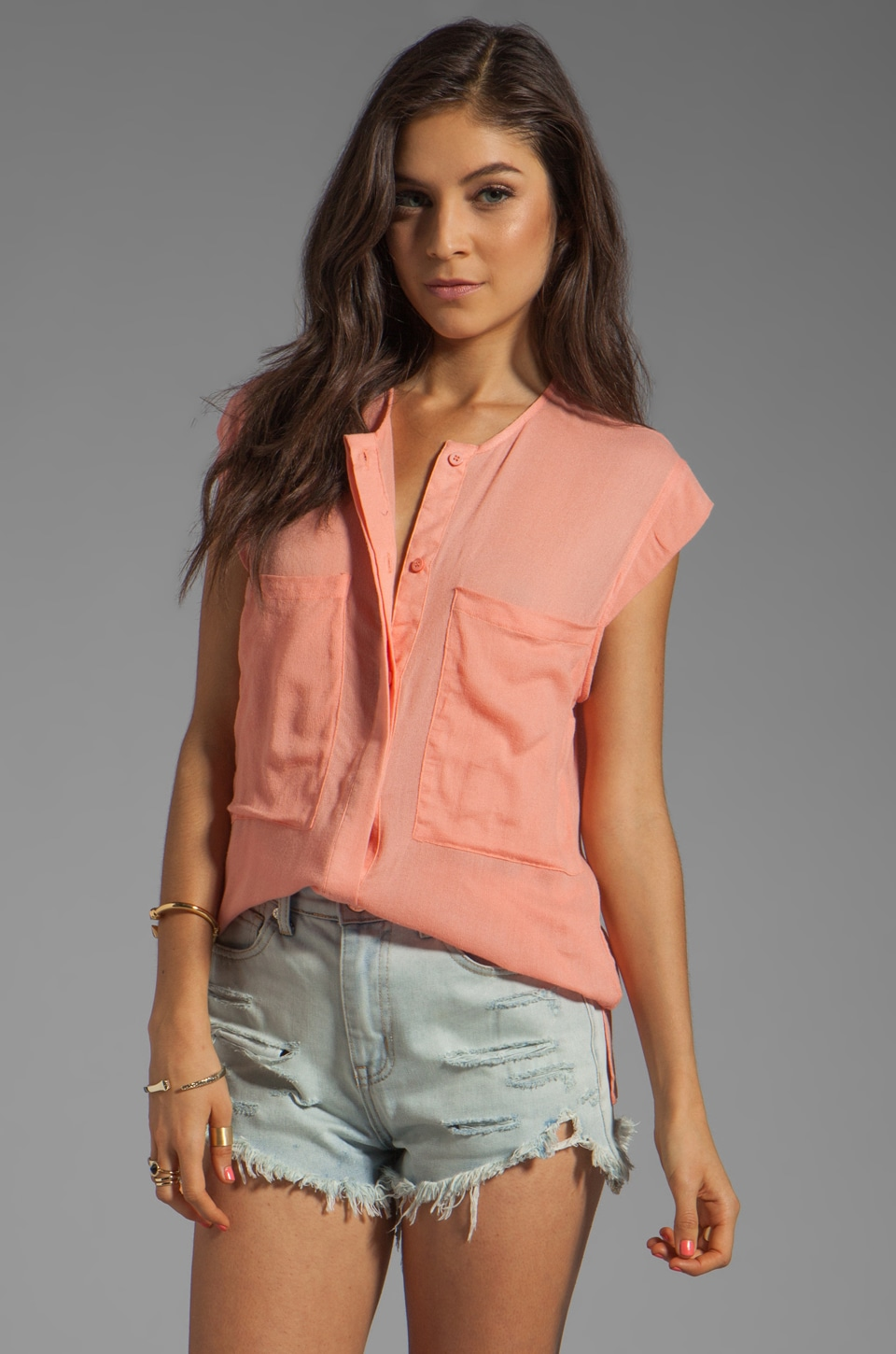 Nation LTD Richmond Top in Salmon