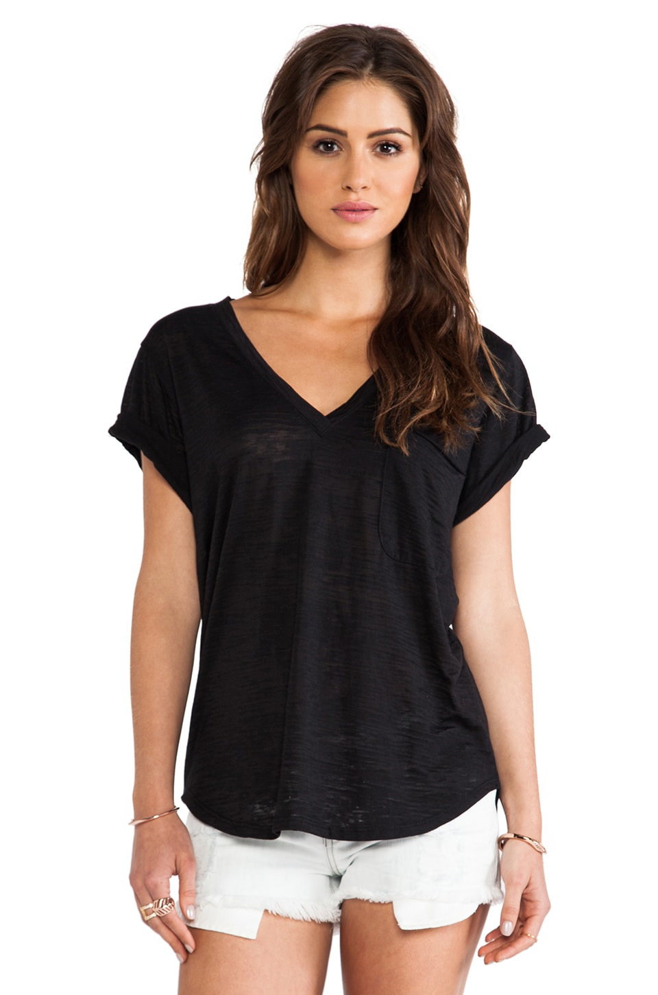 Nation LTD Lake Tahoe Burnout Deep V Tee in Black