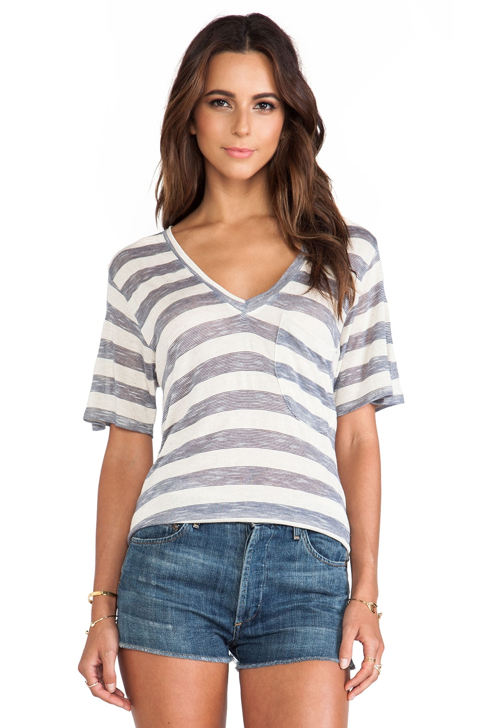Nation LTD Lake Tahoe Deep V Tee in Oatmeal Stripe