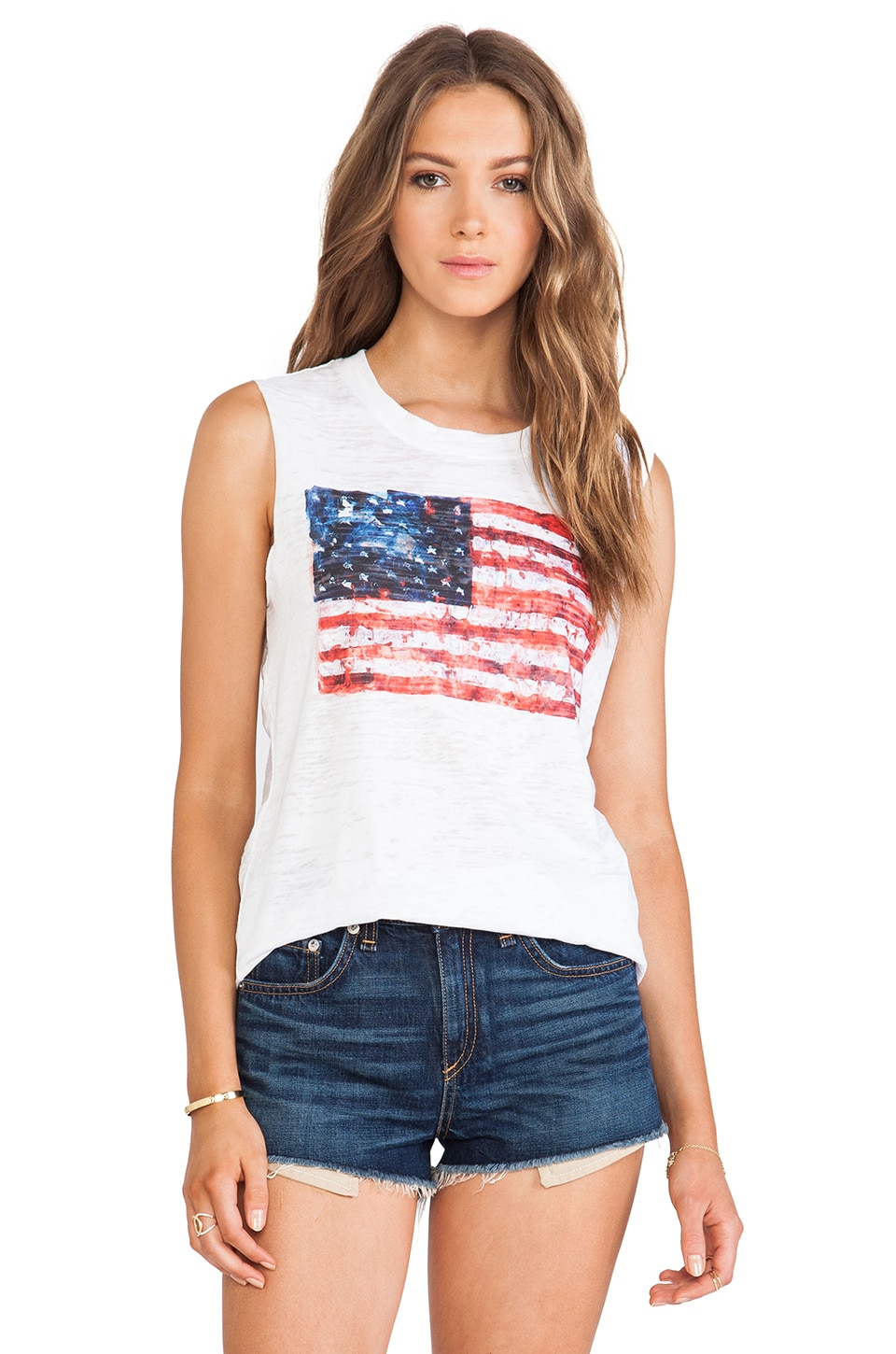 Nation LTD Camden Muscle Tee in White Flag