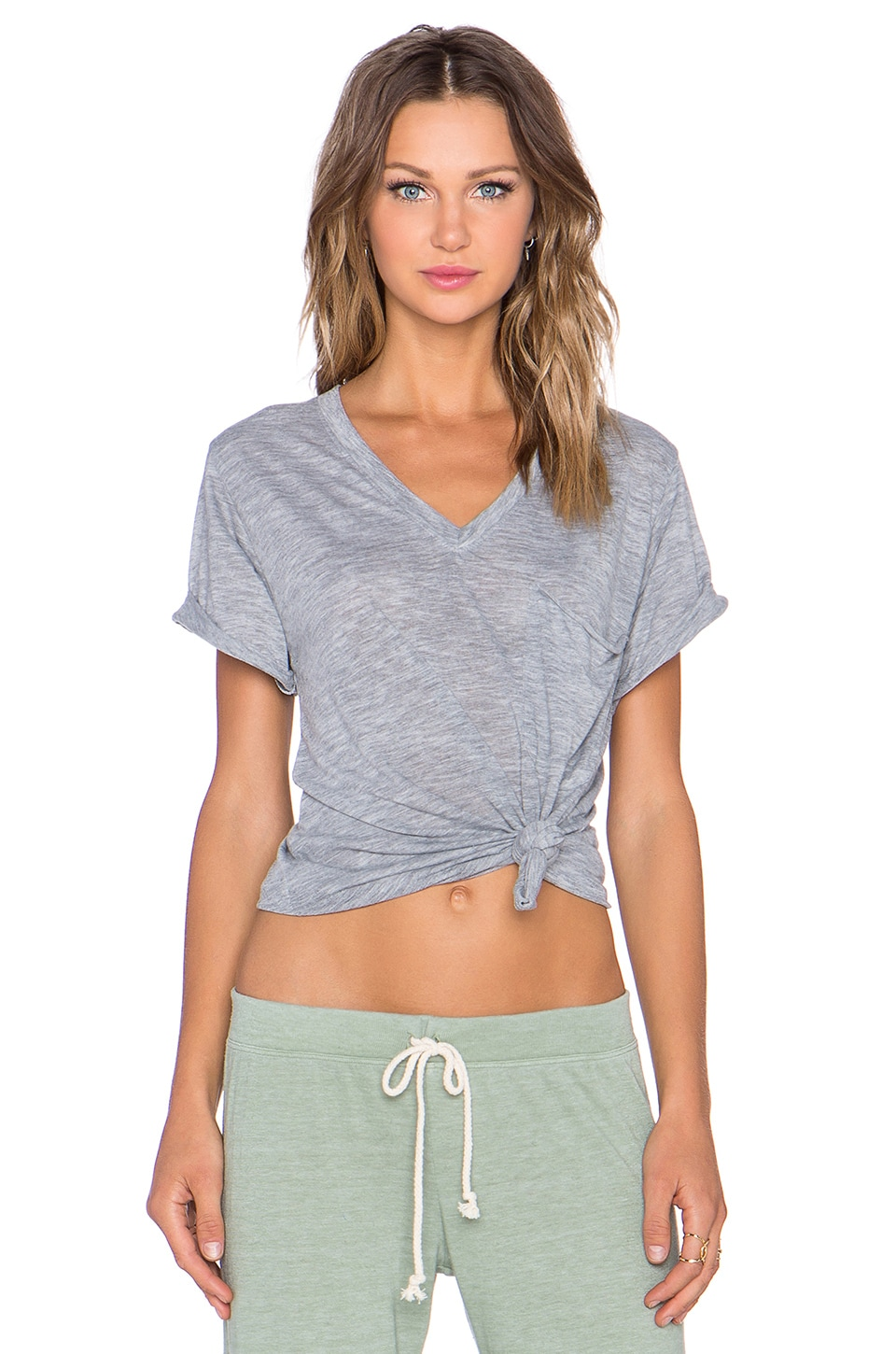 Nation LTD Lake Tahoe Deep V Tee in Heather Grey