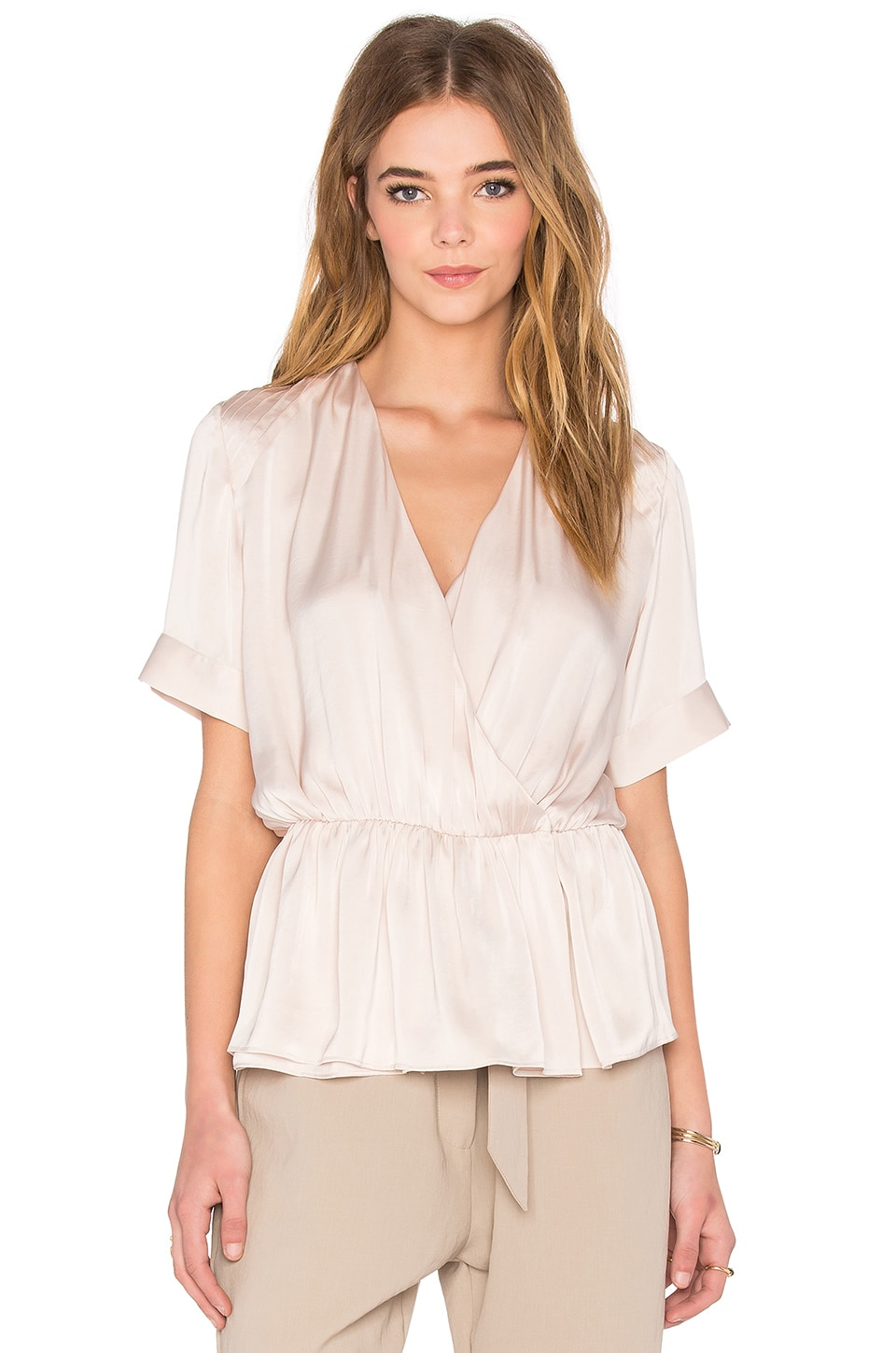 NATIVE STRANGER Pleated Wrapped Blouse in Dusty Pink