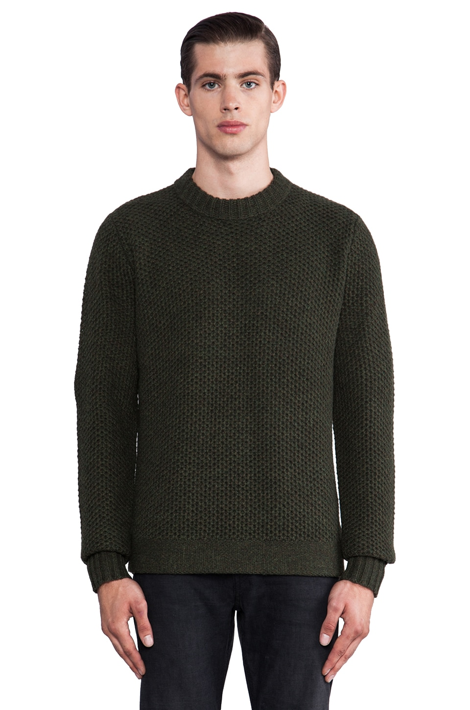 Natural Selection Denim Hive Crew Knit Sweater in Olive