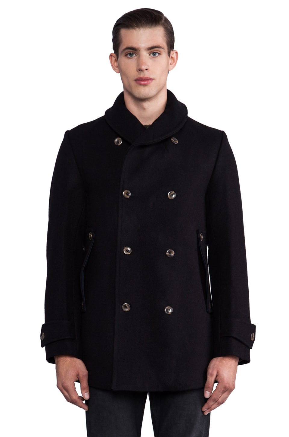 Natural Selection Denim Mackinaw Wool Coat in Navy