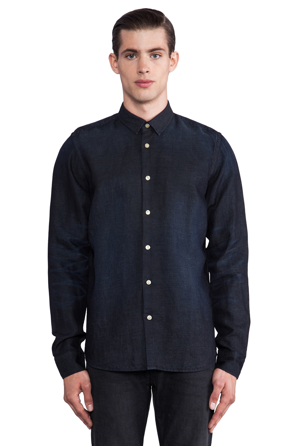Natural Selection Denim Isis Shirt in Denim Scraped