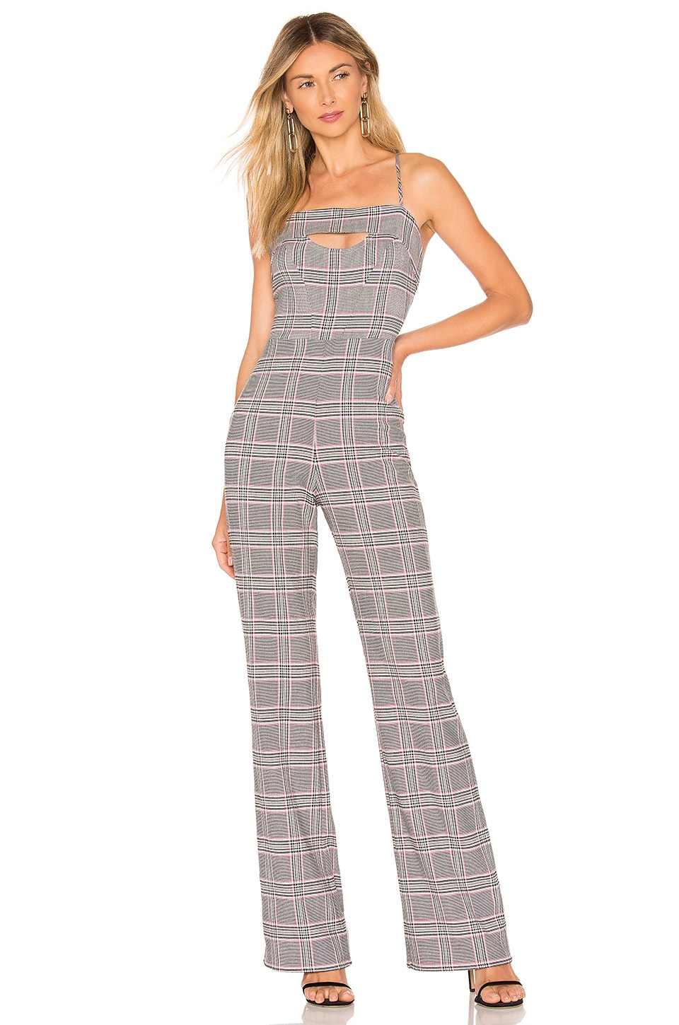 NBD x Naven Rose Jumpsuit in Gray Pink Plaid