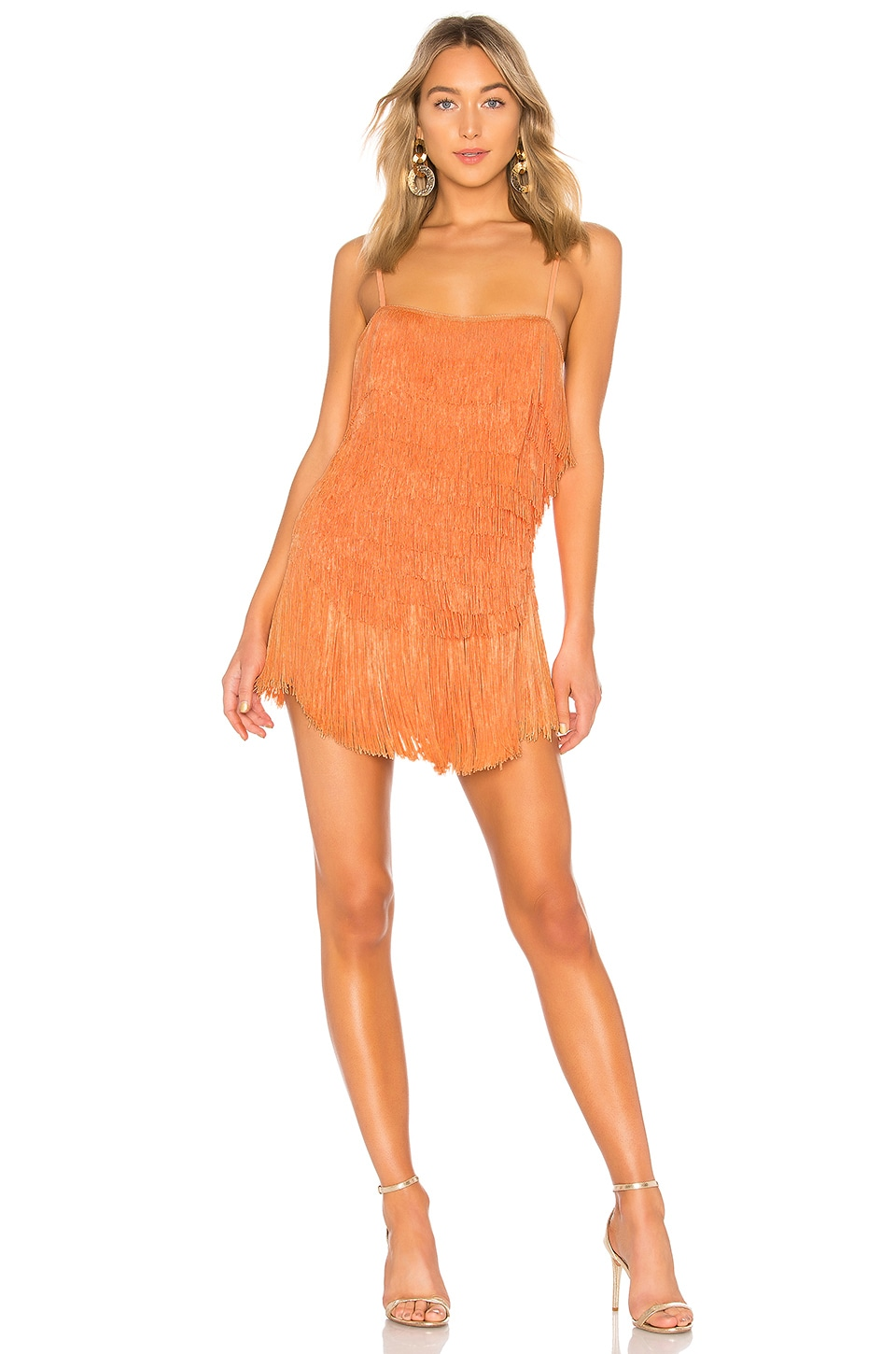 NBD Sunrise Fringe Mini Dress in Sherbert