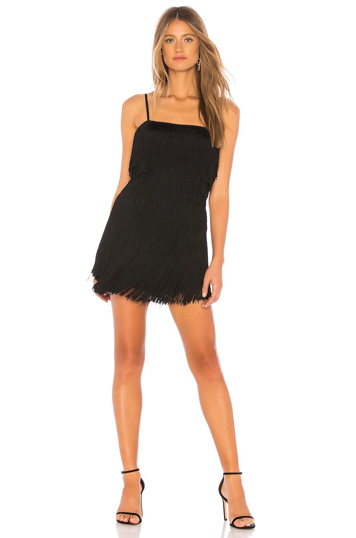 NBD Sunrise Fringe Mini Dress in Black