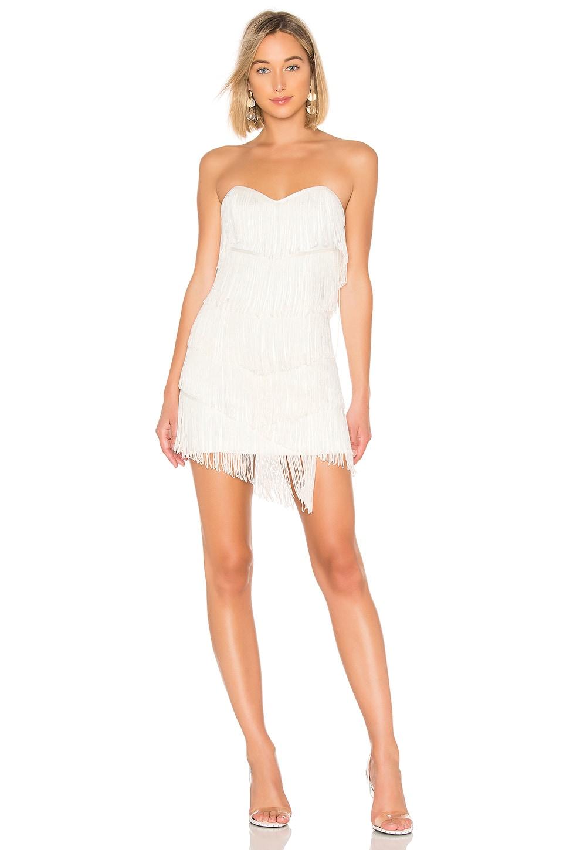 NBD Leanne Fringe Mini Dress in White