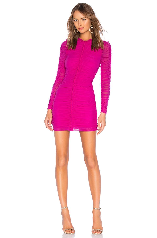NBD Las Olas Long Sleeve Mini Dress in Magenta