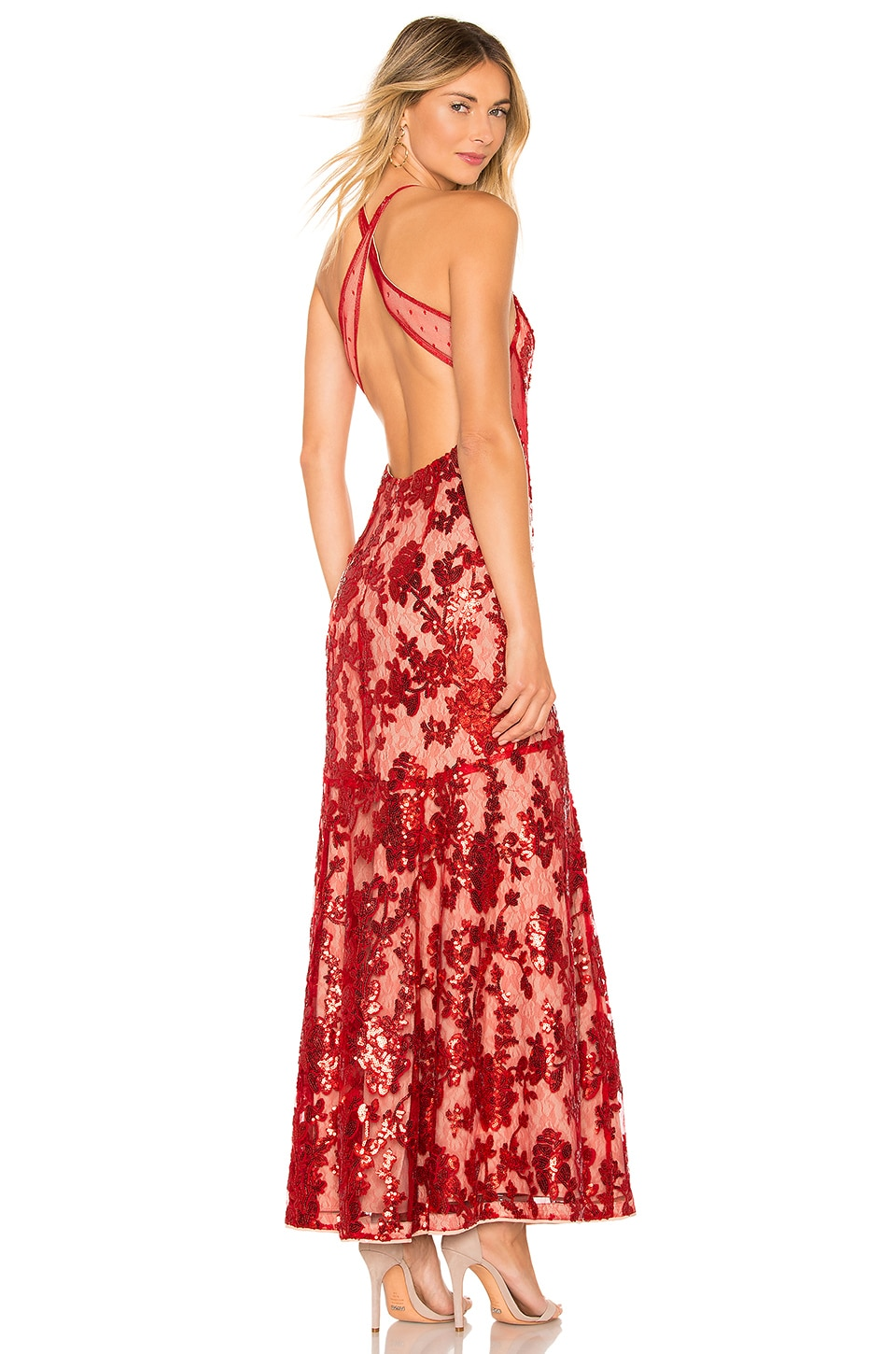 NBD Dusk Til Dawn Gown in Deep Red