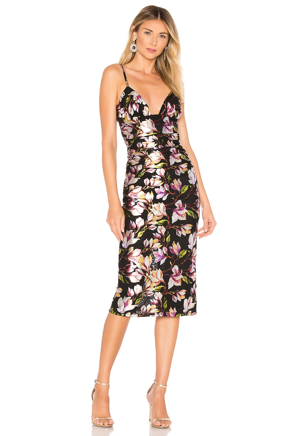 NBD Deirdre Midi Dress in Black Floral