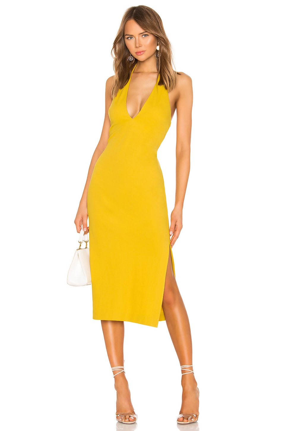 NBD Koh Samui Midi Dress in Saffron Yellow