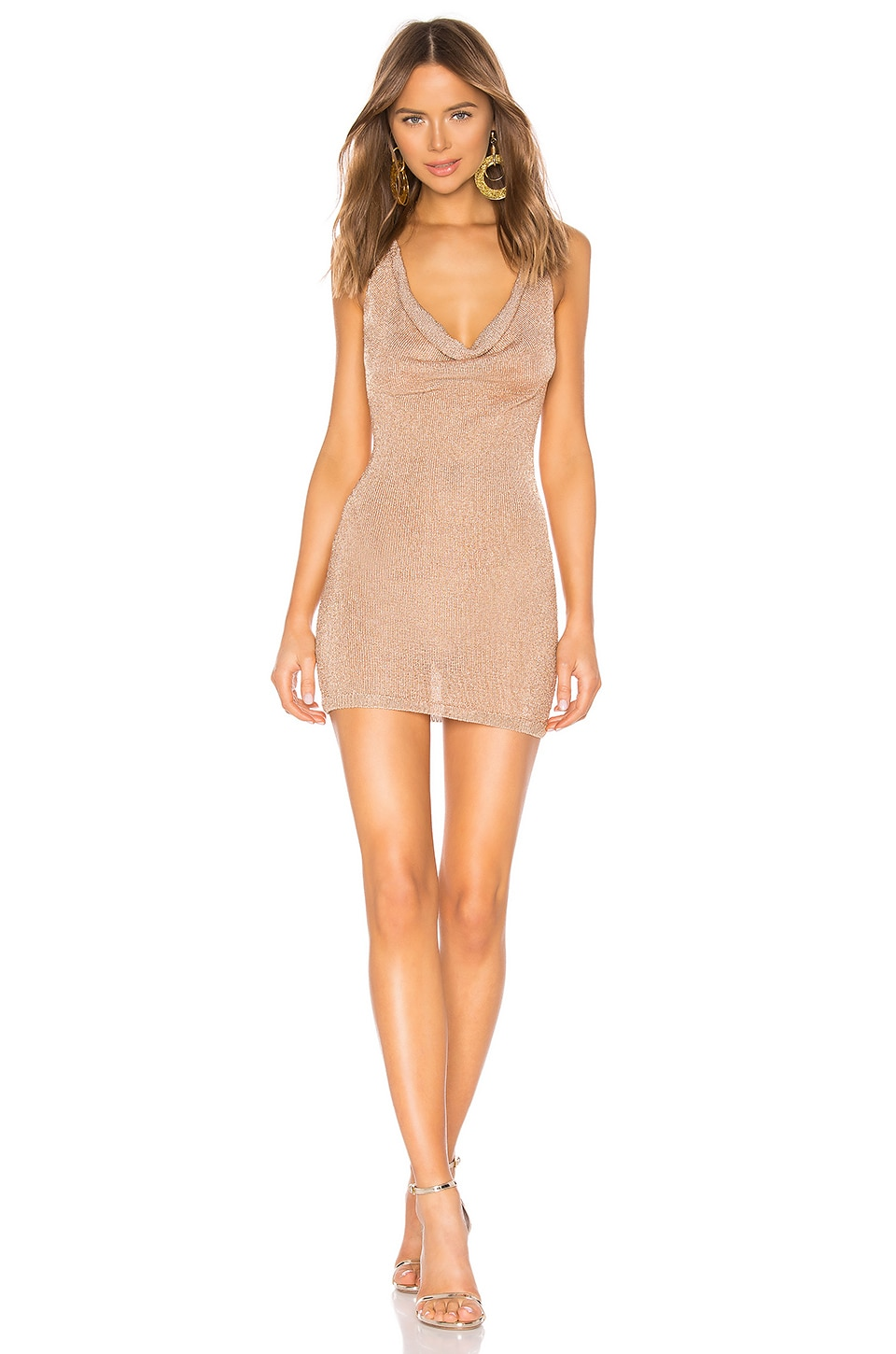 NBD x Naven Melina Halter Dress in Gold Lurex