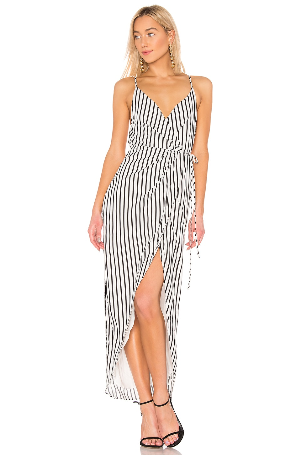 NBD x Naven Claudia Dress in Black White Stripe
