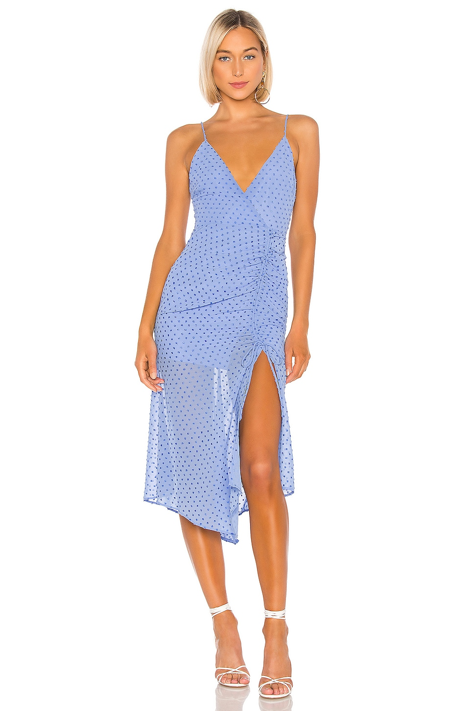 NBD Andre Midi Dress in Periwinkle Blue