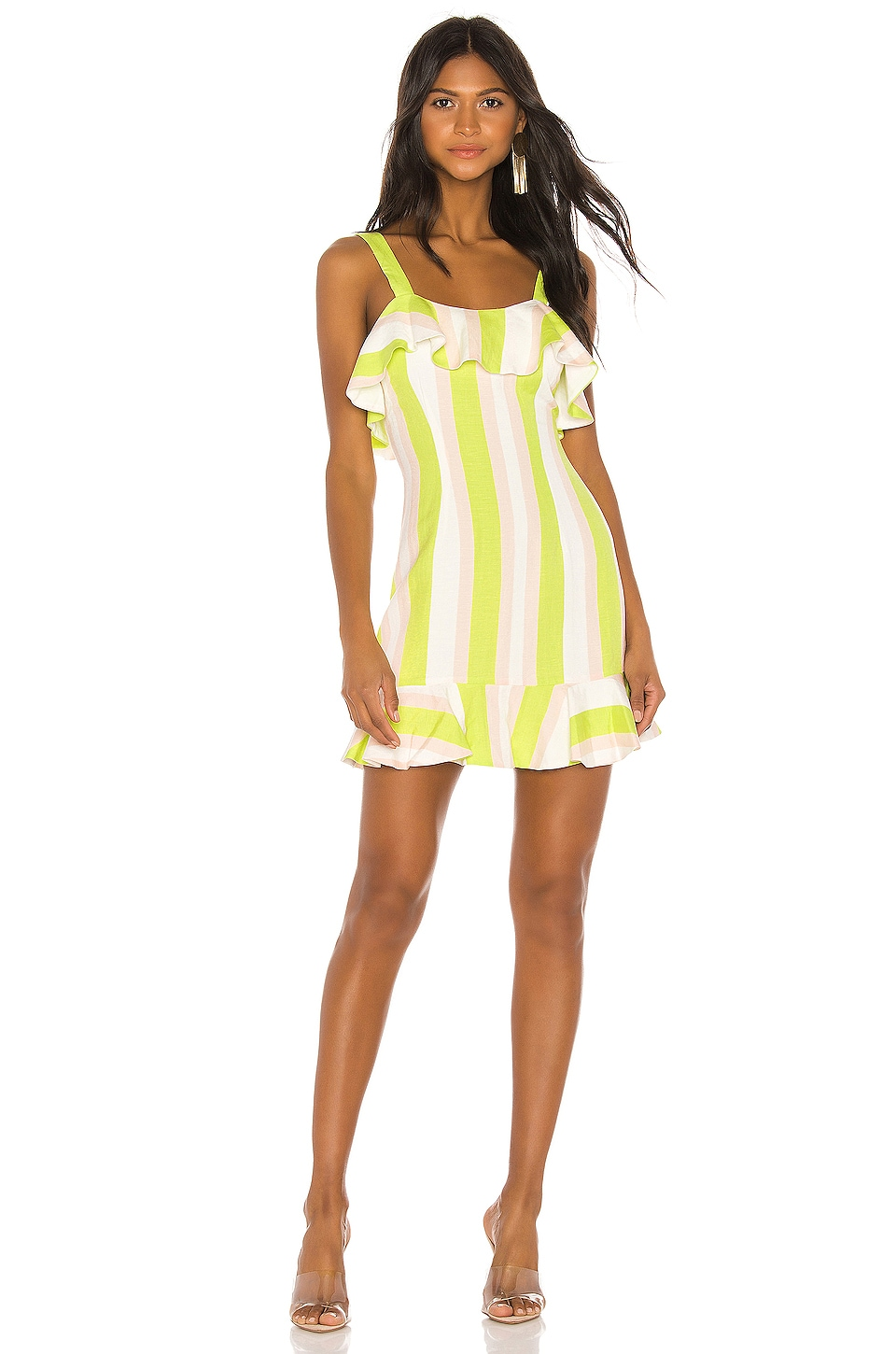 NBD Lucia Mini Dress in Lime & Ivory