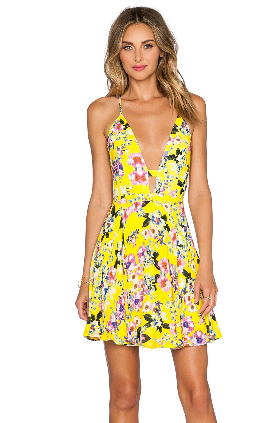 NBD x Naven Twins Everytime Skater Dress in Canary Floral