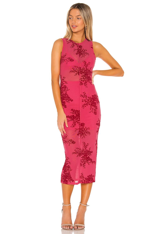 NBD Eartha Midi Dress in Red & Hot Pink