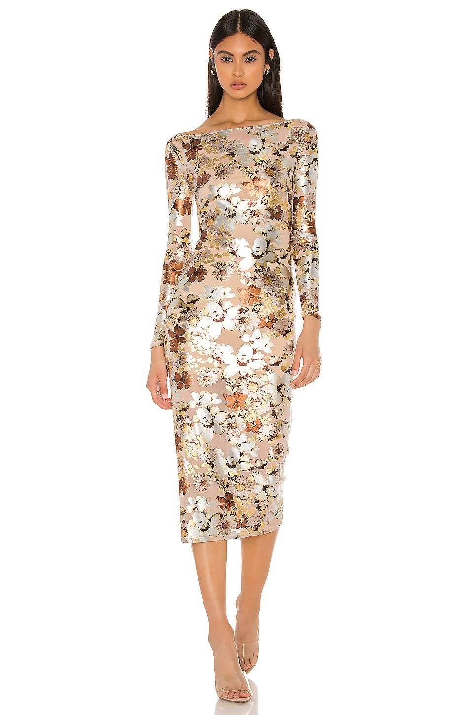 NBD Jurnee Midi Dress in Nude Floral