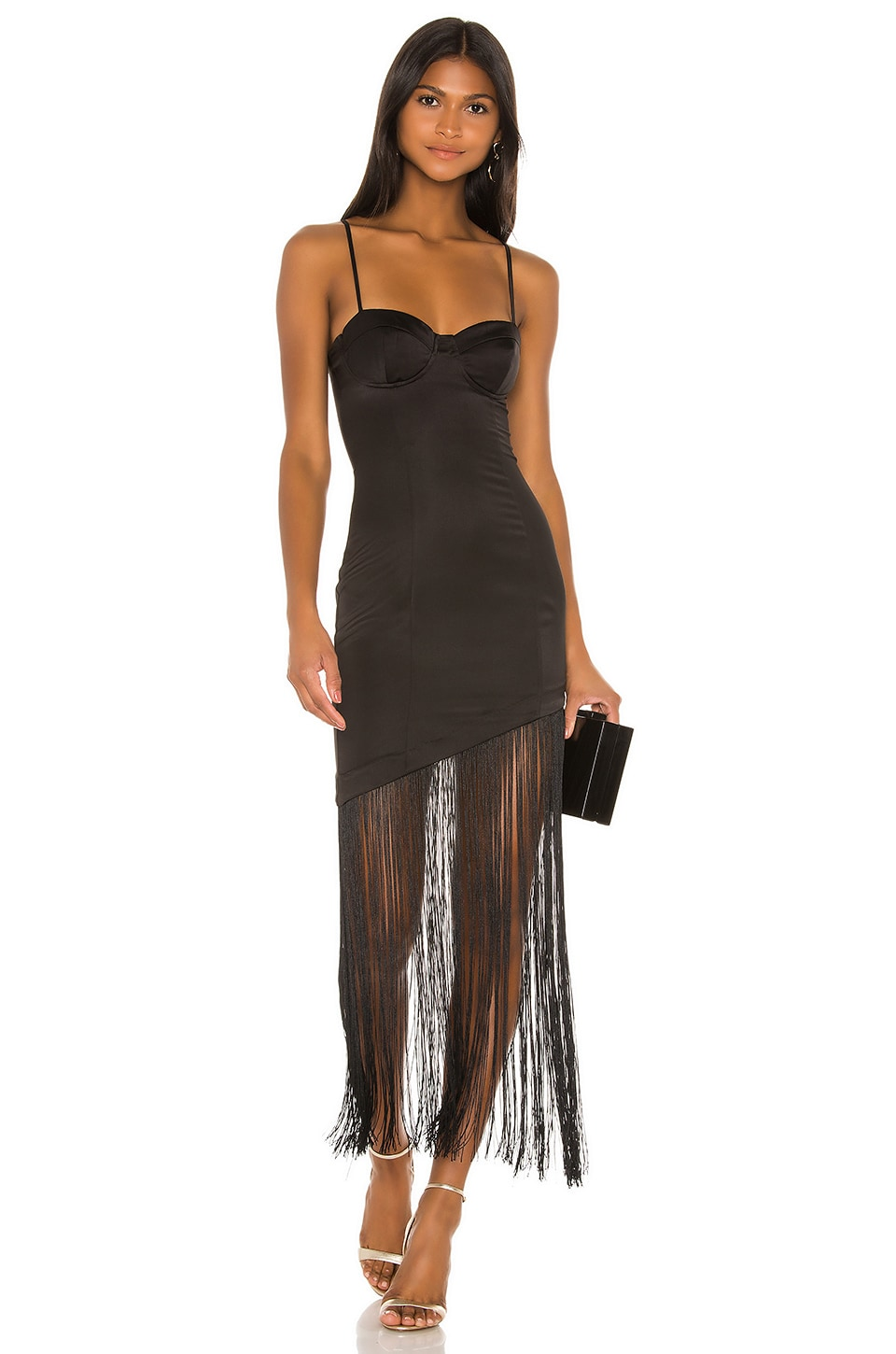 NBD Chris Fringe Midi Dress in Black