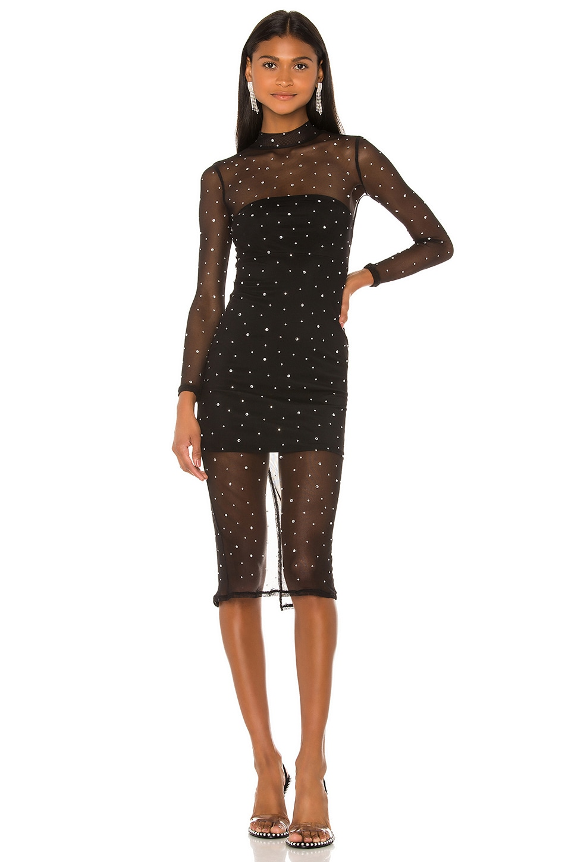 NBD Brittany Embellished Midi Dress in Black