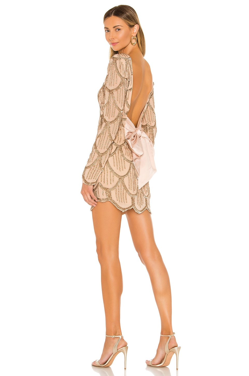 NBD Tristan Mini Dress in Gold & Nude