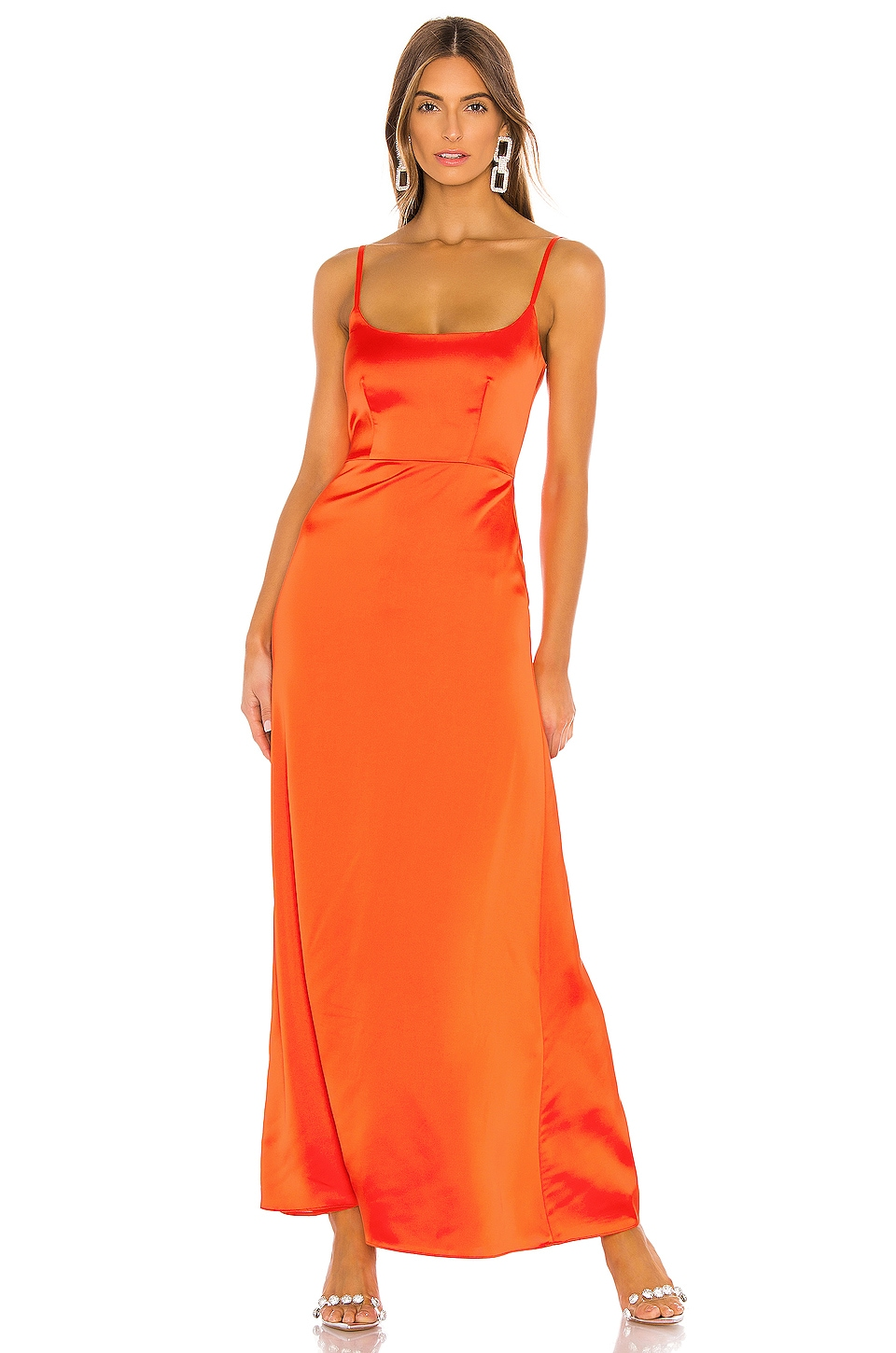 NBD Mieko Gown in Red Orange
