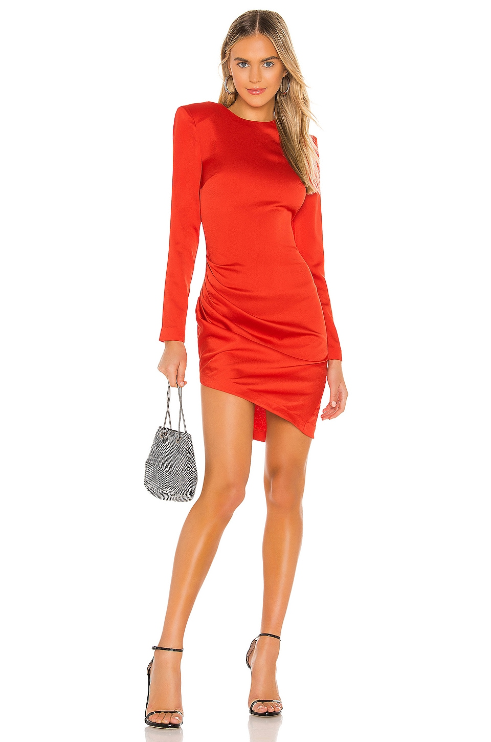 NBD Karen Midi Dress in Red Orange