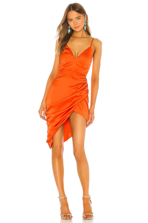 NBD Hyacinth Midi Dress in Red Orange