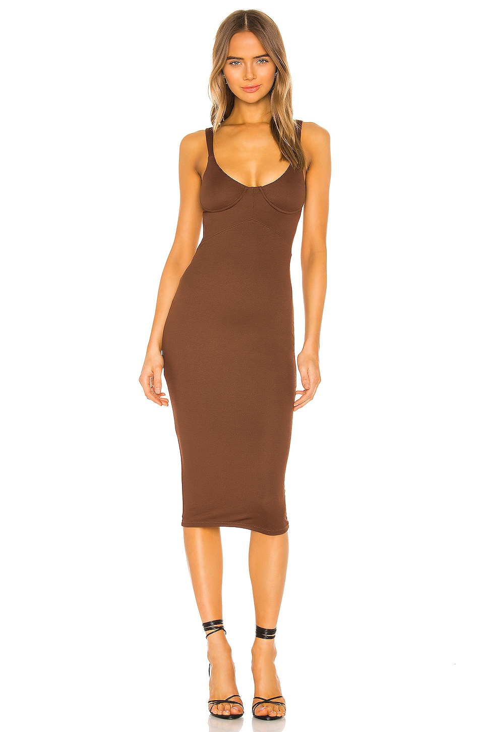 NBD Tayshia Midi Dress in Chocolate Brown