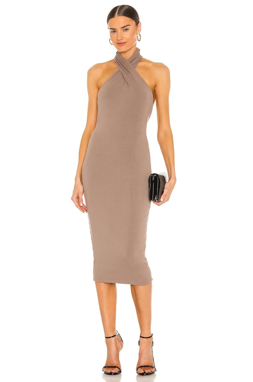 NBD Anju Midi Dress in Deep Taupe