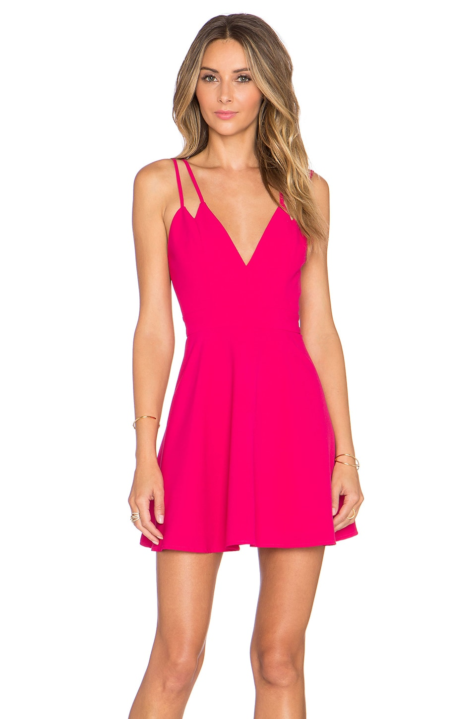 NBD x Naven Twins Party Girl Fit & Flare Dress in Berry