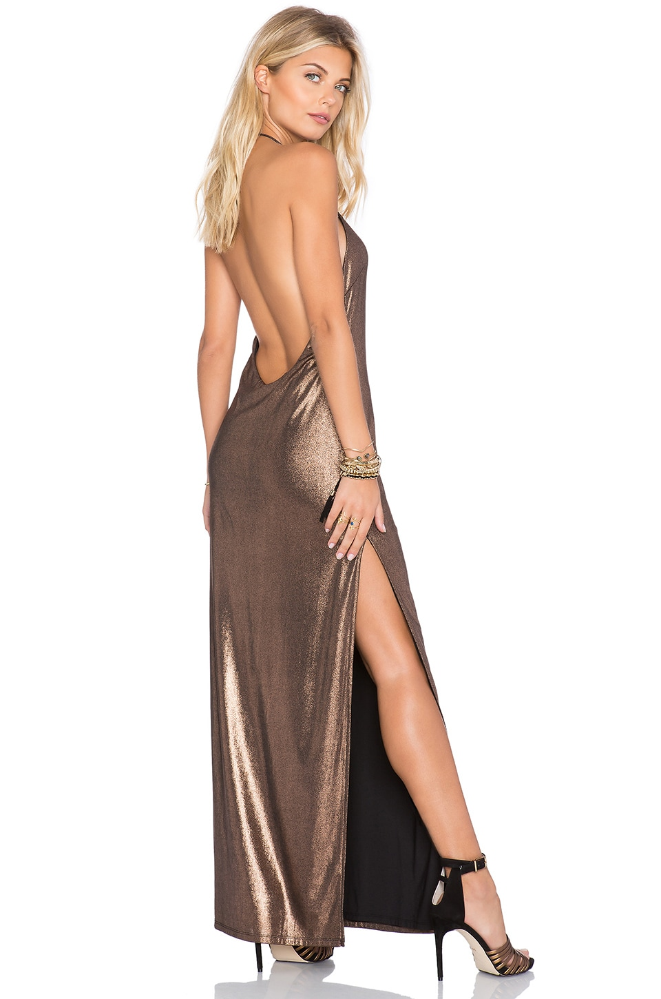 NBD Dancin Queen Maxi Dress in Copper