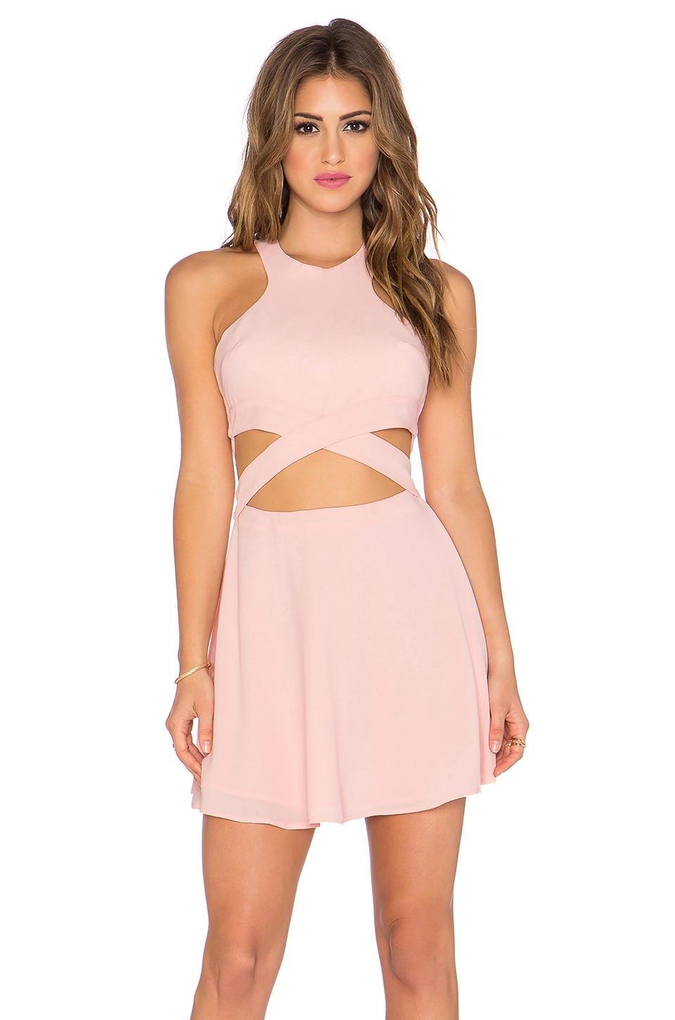 NBD x Naven Twins Chromat Fit & Flare Dress in Blush Pink