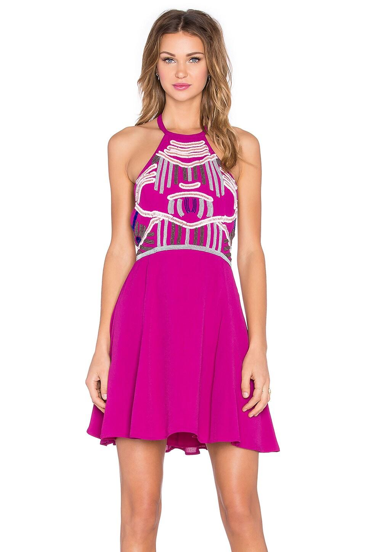 NBD x Naven Twins Flirty Girl Skater Dress in Berry
