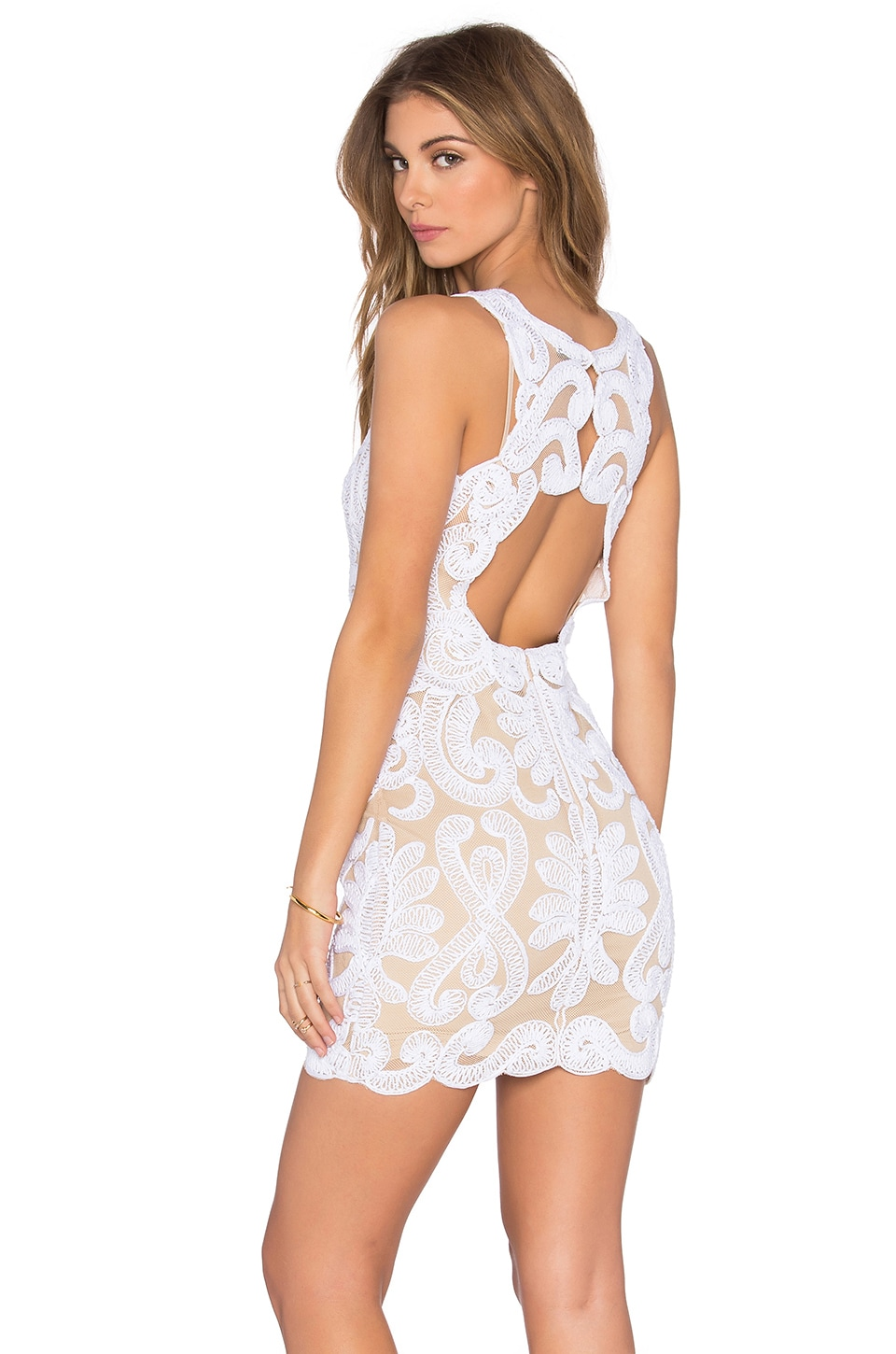 NBD x REVOLVE Embroidered Mini Dress in Ivory & Nude